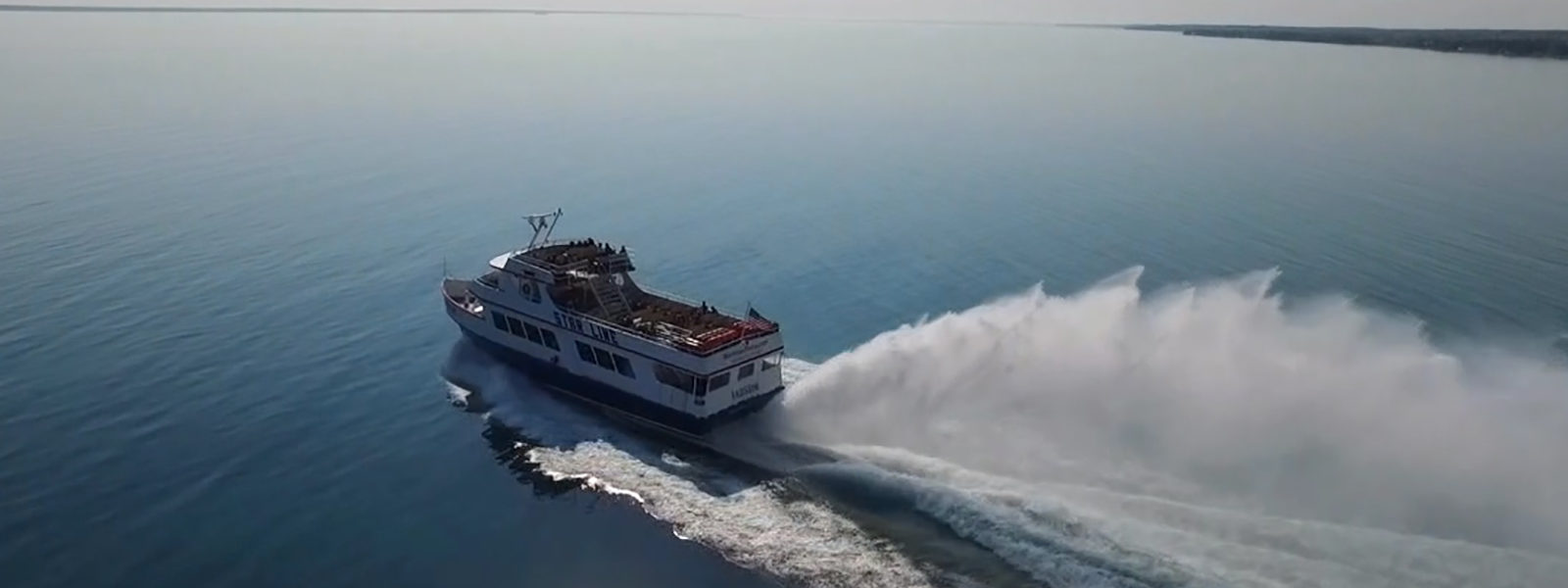 Photo of Star Line Mackinac Island Hydro-Jet Ferry boat Radisson on way to Mackinac Island