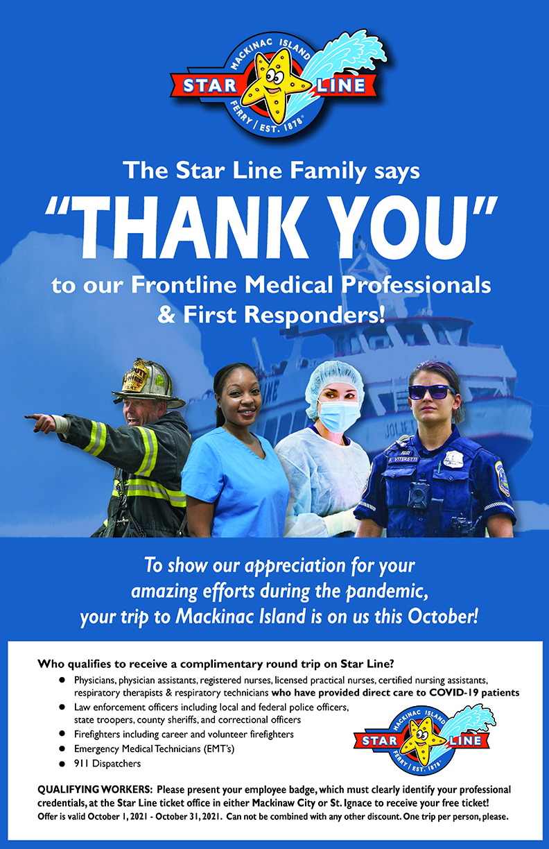Star Line Mackinac Island Hydro-Jet Ferry offers free island trips to frontline medical professionals and first responders